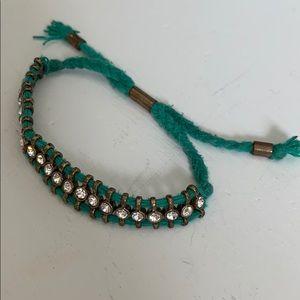 J Crew green and gem bracelet